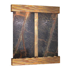Cottonwood Falls Water Fountain, Green Marble, Rustic Copper, Square