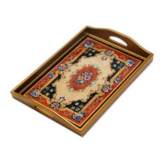 Heavenly Bouquet in Gold Reverse Painted Glass Tray, Peru