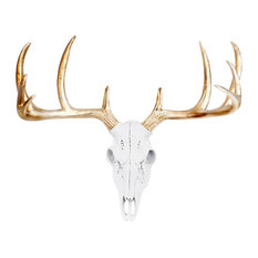Faux Taxidermy Mini Deer Head Wall Mount Sculpture, White/Gold