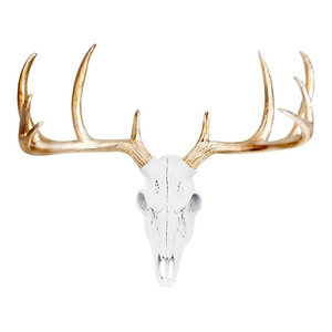Faux Taxidermy Mini Deer Head Wall Mount Sculpture, White/Gold