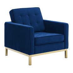 Gold Stainless Steel Performance Velvet Armchair Gold Navy