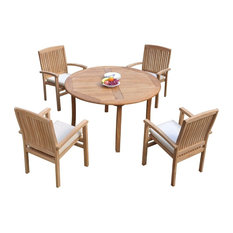 """5-Piece Outdoor Teak Dining Set: 48"""" Round Table, 4 Wave Stacking Arm Chairs"""