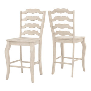 Arbor Hill French Ladder Back Counter Chair, Set of 2, Antique White