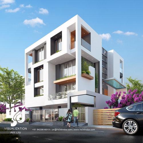 3d modern architecture exterior design 3d rendering by hs3d india34 - Modern Architecture Exterior Designs