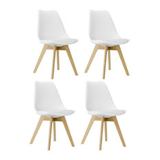 Btexpert - White Midcentury Tulip Upholstery Wood Leg Side Dining Chairs Set of 4 - Dining Chairs