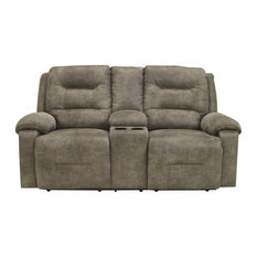 Rotation Reclining Loveseat With Console, Smoke