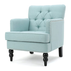 Exceptionnel GDFStudio   Madene Tufted Back Fabric Club Chair, Light Blue   Armchairs  And Accent Chairs