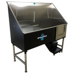 """Groomer's Best - Elite Dog Wash, Black, 58"""", Left Drain - Groomers Best Elite Bathing Tub is top of the line.  Featuring a fully welded design and double sealed.  Our textured coating protects your tub and guarantees no leaking or rusting, and can also be ordered in a color to match your decor.  Includes Lift & Slide steps that allow the animals ease of access and smoothly slide underneath the tub for your convenience.  Removable raised tray is great for small dogs! No assembly required, wash tub ships ready to install!  Easy to use and maintain!"""