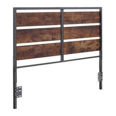 Queen Size Metal and Wood Panel Headboard