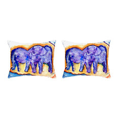 Pair of Betsy Drake Elephants No Cord Pillows 16 Inch X 20 Inch