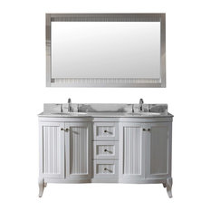 "Khaleesi 60"" Double Bathroom Vanity Cabinet Set, White"