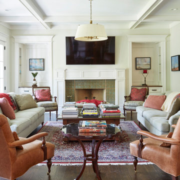 Classic living room with art tile fireplace surround