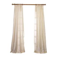 "Pearl Textured Dupioni Silk Curtain Single Panel, 50""x108"""