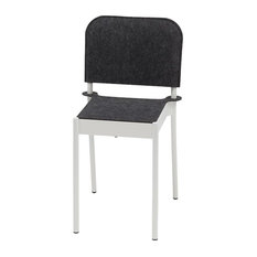 La Table Powder-Coated Steel Chair With Felt Seat and Backrest, White