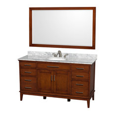 "Hatton 60"" Vanity, 56"" Mirror, Light Chestnut, Round, White Carrera Marble"