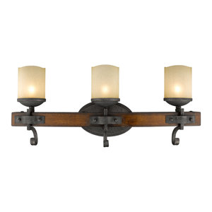 Madera 3-Light Bath Vanity, Black Iron With Toscano Glass