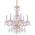 Crystorama - Crystorama Traditional Crystal 6 Light Crystal Brass Chandelier IV - Hand Cut Crystal Chandelier. Traditional crystal chandeliers are classic, timeless, and elegant. Crystorama's opulent glass arm chandeliers are nothing short of spectacular. This collection is offered in a variety of crystal grades to fit any budget. For a touch of class, order this collection in Gold for traditionalists or in Chrome to match your contemporary or transitional decor.
