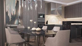 Кухня столовая с барной стойкой и большим столом для гостей.