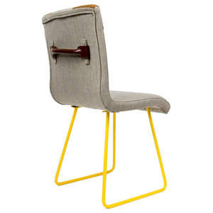 Upholstered Leather Detail Chair, Yellow