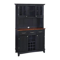 Home Styles Furniture   Smith Buffet With Wood Top And Hutch, Black And  Cherry
