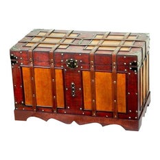 Vintiquewood - Quickway Imports Antique Style Steamer Trunk - Decorative Trunks