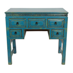 Blue desks top reviewed desks of 2018 houzz redd furnishings consigned antique 5 drawer writing desk desks and hutches publicscrutiny Choice Image