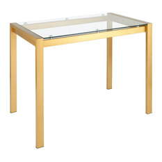 Fuji Contemporary Counter Table, Gold Metal and Clear Glass
