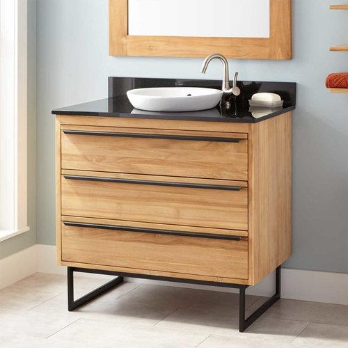 """36"""" CAEL TEAK VANITY FOR SEMI-RECESSED SINK - NATURAL TEAK - Bathroom Vanities"""