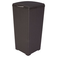 Keter Pacific 30 Gallon Outdoor Resin Wicker Waste Basket With Liner