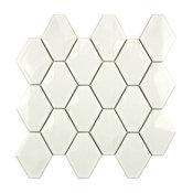"""SomerTile 10.5""""x11"""" Chevron Porcelain Mosaic Wall Tile, Glossy White"""