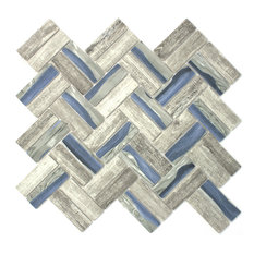 "11.75""x11.75"" Ula Recycled Glass Tile Mosaic Sheet, Blue"