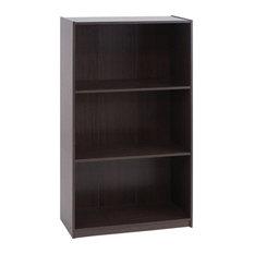 Basic 3-Tier Bookcase Storage ShelvesDark Brown