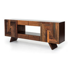 82-inch L Media Cabinet Console Solid Peroba Oak Wood Natural & Dark Stain Modern