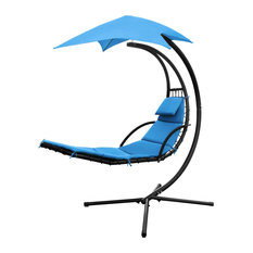 Hanging Lounge Chaise Chair, Curved Design With UV Resistant Canopy, Blue