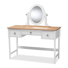 Sylvie Classic and Traditional White 3-Drawer Wood Vanity Table with Mirror