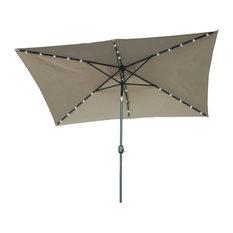 Rectangular Solar-Powered LED-Lighted Patio Umbrella, 10'x6'