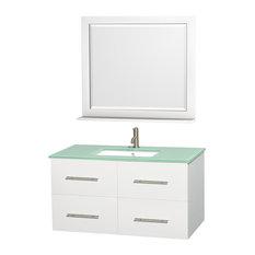 "42"" Single Bathroom Vanity in White, Countertop, Undermount Sink, Mirror"