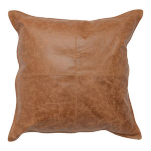 "Cheyenne 100% Leather 22""x22"" Throw Pillow by Kosas Home, Chestnut Brown"