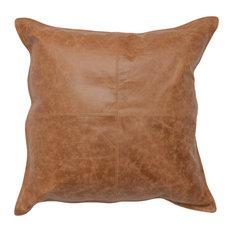 "Kosas Home Cheyenne 100% Leather 22"" Throw Pillow, Chestnut Brown"