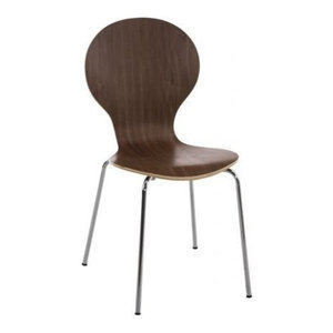 Chair With Steel Frame, MDF Seat, Stacking Design, Walnut
