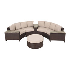 Mia Outdoor 4 Seater Wicker Curved Sectional Set with Wedge Tables, Beige, Round