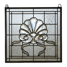 "Tiffany Style Stained Glass Clear Beveled Window Panel, 16.75""x16.5"""