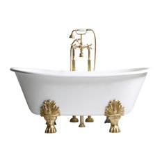 """'The Fountains' 59"""" Cast Iron French Bateau Clawfoot Tub and Drain"""
