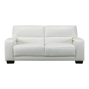 Brigitte Leather Craft Sofa, Ivory White