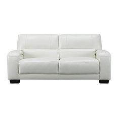 Brigitte Leather Craft Sofa Ivory White