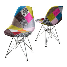 GDF Studio Cassius Multi-Color Patchwork Fabric Chairs, Set of 2