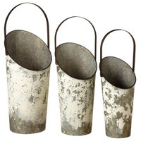 CBK Metal 3 Piece Set Distressed White Tall Basket With Handle 161485
