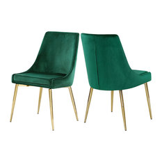 Meridian Furniture - Karina Velvet Dining Chairs, Set of 2, Green, Gold Base - Dining Chairs