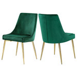 Meridian Furniture - Karina Velvet Dining Chairs, Set of 2, Green, Gold Base - Extend contemporary panache to the dining room with this Karina Green Velvet Dining Chair. This dining chair features upholstery in sleek green velvet for a modern look and has an armless design for a retro-inspired vibe. The stark green makes a contrasting statement with ease. The slanted legs of this chair are gold finished for added modernity and to provide reliable and durable support while you dine.