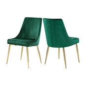 Karina Velvet Dining Chairs, Set of 2, Green, Gold Base
